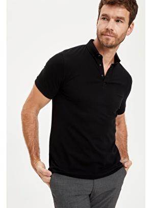DeFacto Polo Yaka Kısa Kollu Slim Fit Pike Tişört